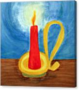 Red Candle Lighting Up The Dark Blue Night. Canvas Print