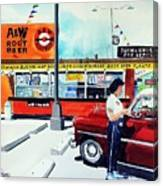 Red Car At The A And W Canvas Print