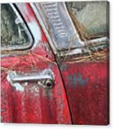 Red Car Door Handle Canvas Print