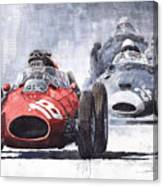 Red Car Ferrari D426 1958 Monza Phill Hill Canvas Print