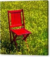 Red Chair Amoung Wildflowers Canvas Print