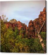 Red Cliffs Mountains Zion National Park Utah Usa Canvas Print