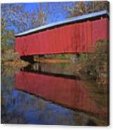 Red Covered Bridge And Reflection Canvas Print