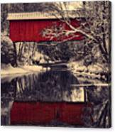 Red Covered Bridge In Winter Canvas Print