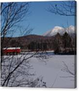 Red Dam And Percy Peaks In Winter Canvas Print