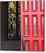 Red Door At Church In Front Of Stained Glass Canvas Print