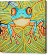 Red Eyed Tree Frog And Dragonfly Canvas Print