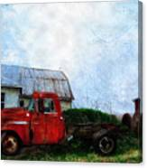 Red Farm Truck Canvas Print