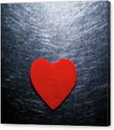 Red Felt Heart On Stainless Steel Background. Canvas Print