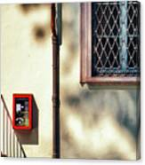 Red Fire Box With Window, Shadows And Gutter Canvas Print