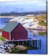 Red Fishing Shed On The Cove Canvas Print