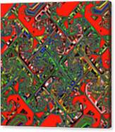 Red Five Wave Abstract Canvas Print