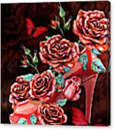 Red Floral Heels Canvas Print
