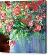 Red Flowers Blue Planter Canvas Print