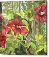 Red Flowers On The Deck Canvas Print