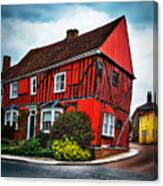 Red Frame House In Lavenham, England. Canvas Print