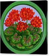 Red Geranium On Wood Canvas Print