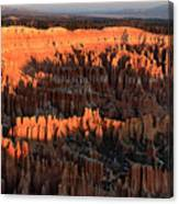 Red Glow Of The Sunrise In Bryce Canyon Canvas Print