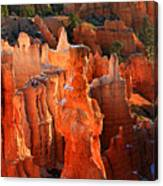 Red Glow On Thor's Hammer In Bryce Canyon Canvas Print