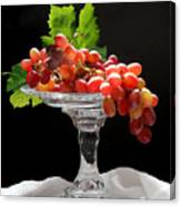 Red Grapes On Glass Dish Canvas Print