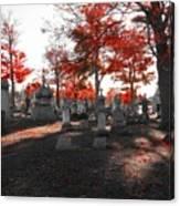 Red Fall Graveyard Canvas Print