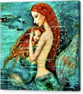 Red Hair Mermaid Mother And Child Canvas Print