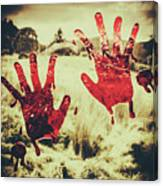 Red Handprints On Glass Of Windows Canvas Print