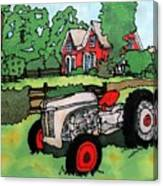 Red House And Tractor Canvas Print