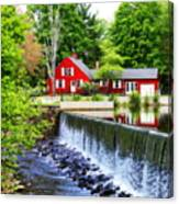 Red House By The Falls Canvas Print