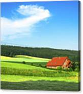 Red House In Field - Amshausen, Germany Canvas Print