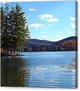 Red House Lake Allegany State Park In Autumn Expressionistic Effect Canvas Print