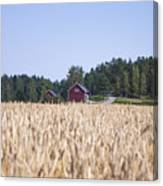 Red House Wheat Field Canvas Print