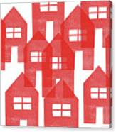 Red Houses- Art By Linda Woods Canvas Print