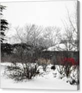 Red Leaves On White Snow Canvas Print