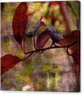 Red Leaves Painted Effect Canvas Print