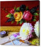 Red Letter Box And Dahlias Canvas Print