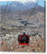 Red Line Cable Car Cabin And Mt Illimani Bolivia Canvas Print