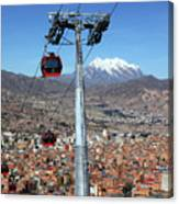 Red Line Cable Cars And Mt Illimani La Paz Bolivia Canvas Print