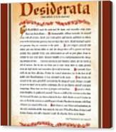 Red Matted Floral Scroll Desiderata Poem Canvas Print