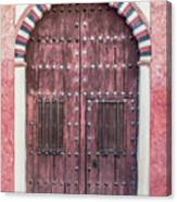 Red Medieval Wood Door Canvas Print