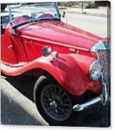 Red Mg Antique Car Canvas Print