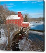 Red Mill In Winter Canvas Print