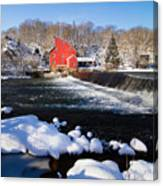 Red Mill In Winter Landscape Canvas Print