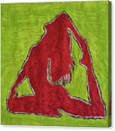 Red Nude Yoga Girl Canvas Print