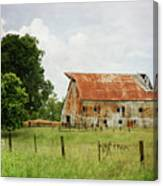 Red Oak Barn Canvas Print