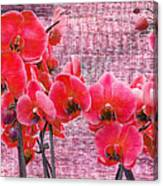 Red Orchids On Linen Zen Canvas Print