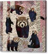 Red Panda Abstract Mixed Media Digital Art Collage Canvas Print