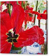 Red Party Flowers IIi Canvas Print