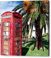 Red Phone Booth Bermuda Canvas Print