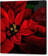 Red Poinsettia Happy Holidays Card Canvas Print